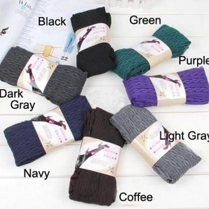 Winter Warm Cotton Knit Thick Stret..