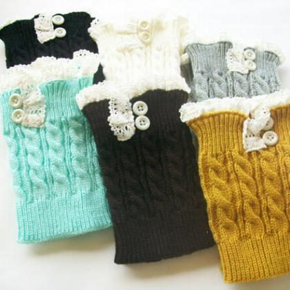 women knit boot cuffs acrylic cable..