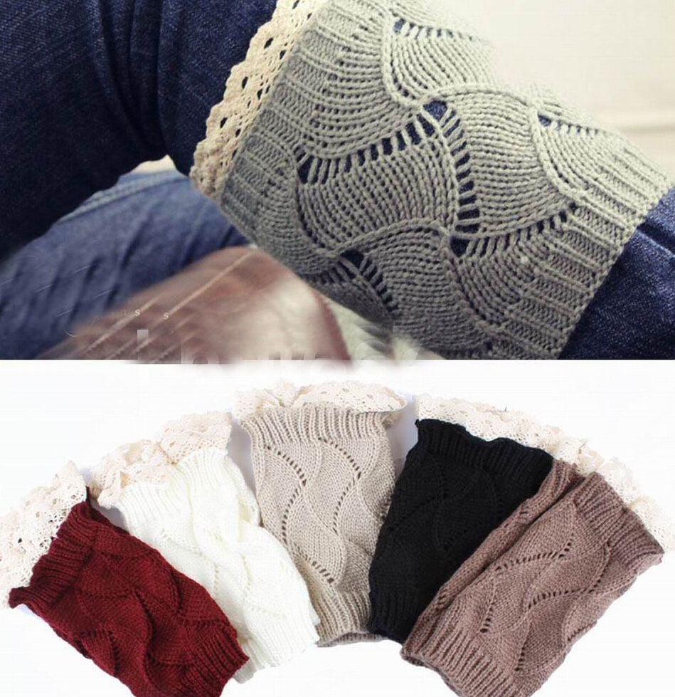 Luxury Women Crochet Knitted Lace Trim Boot Cuffs Toppers Liner Leg Warmers Sock