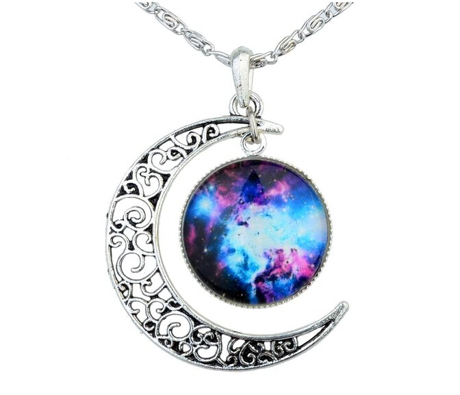 Black Purple Women's Crescent Moon Galactic Universe Cabochon Pendant Necklace Christmas Gift