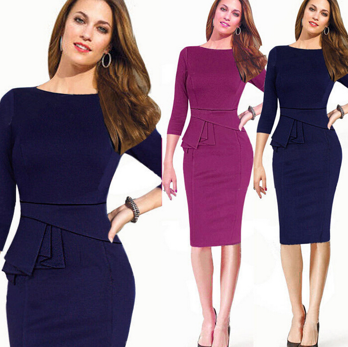 Womens Elegant Vintage Office Wear To Work Party Bodycon Pencil Career  Dresses 78e0872108a5