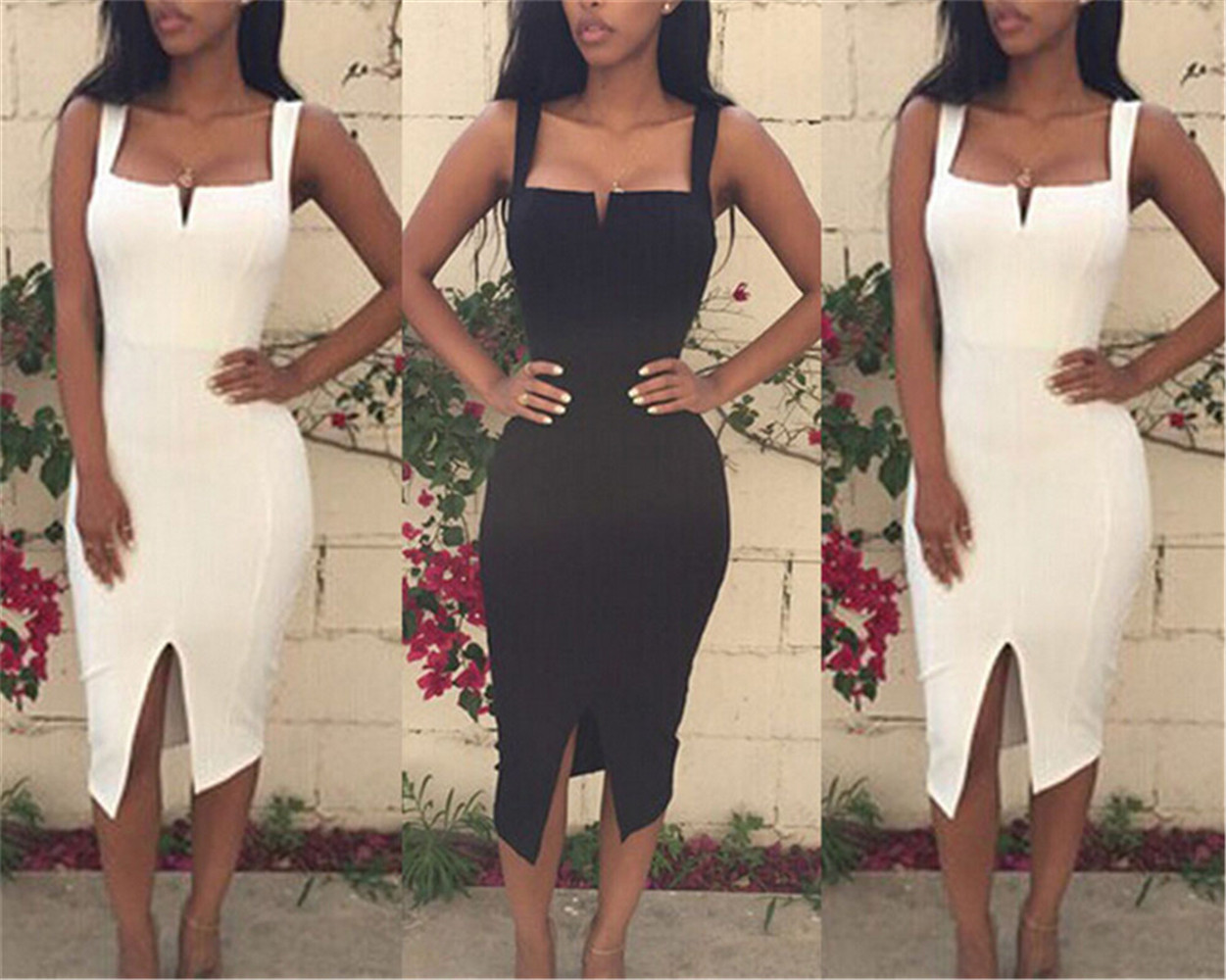 Women Spagetti Straps Square Neck Split Sexy Bandage Slim Mini Dress