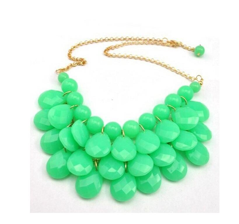 women fashion green Water drop Bubble Chain Bib Statement Necklace Charm