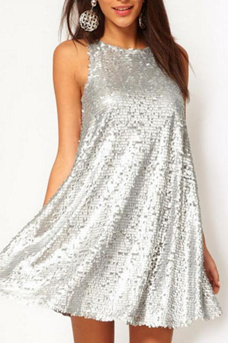 Women's Silver Sequins Sleeveless Evening Cocktail Fashion Mini Dress