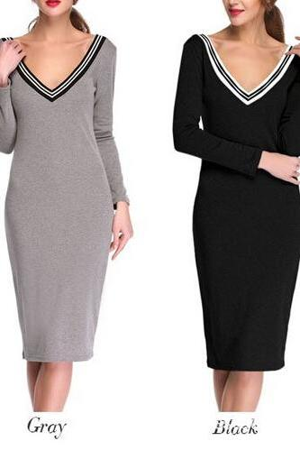 Winter Knitted Women Dress Long Sleeve Sexy Club Party Stretch Bodycon Casual Office Dress Black