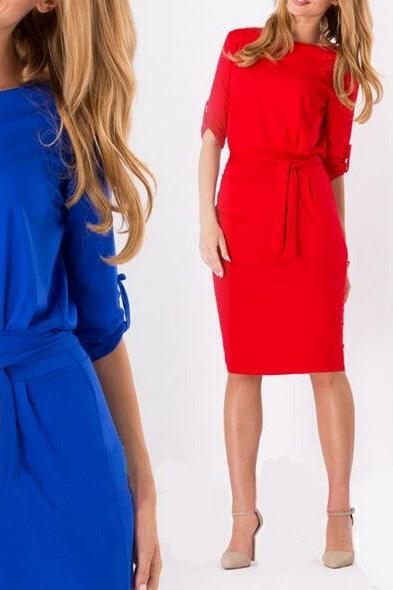 Plus Size Retro Bandage Tunic Classic Dresses Women Elegant Red Black Blue Vestidos Casual Loose Office Work Dress