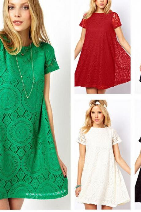 Women's Short Sleeve Lace Club Cocktail Party Princess Casual Loose Mini Dresses