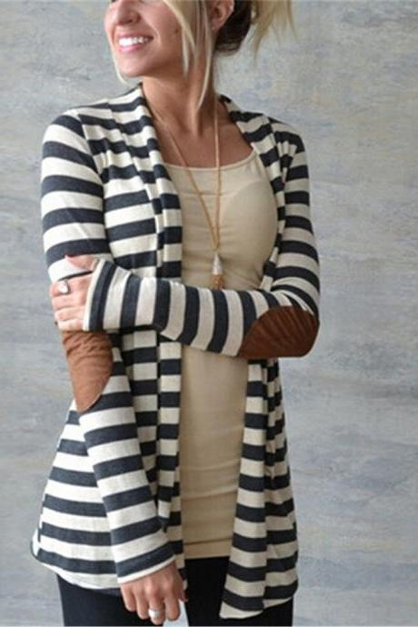 Women Stripes Arm Patchwork Long Sleeve Cotton Cardigan