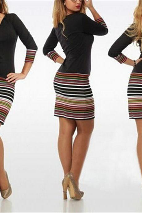 Women 3/4 Sleeve Deep V Neck Colorful Stripes Bodycon Slim Mini Dress