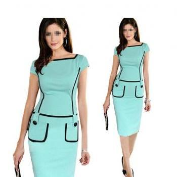 New Fashion Bodycon Pencil Business Work Button Midi Tank Dress