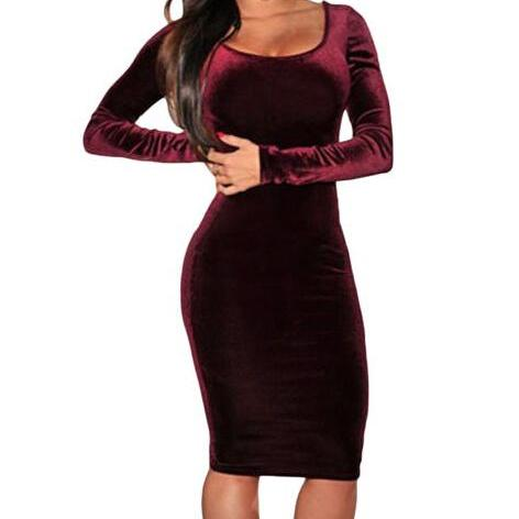 Red Wine Velvet Long Cocktail Solid Midi Dress LC6684 women party winter