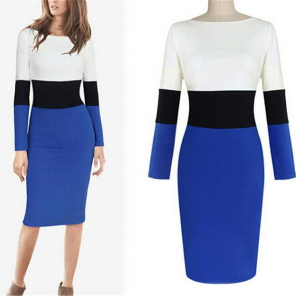 Women Long Sleeve Slash Neck Color Contrast Bodycon Bandage Office Lady Pencil Midi Dress