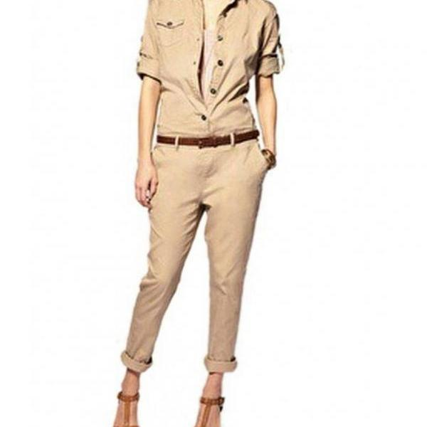 women Smart Frock Bodysuit Casual Jumpsuits Siamese Trousers